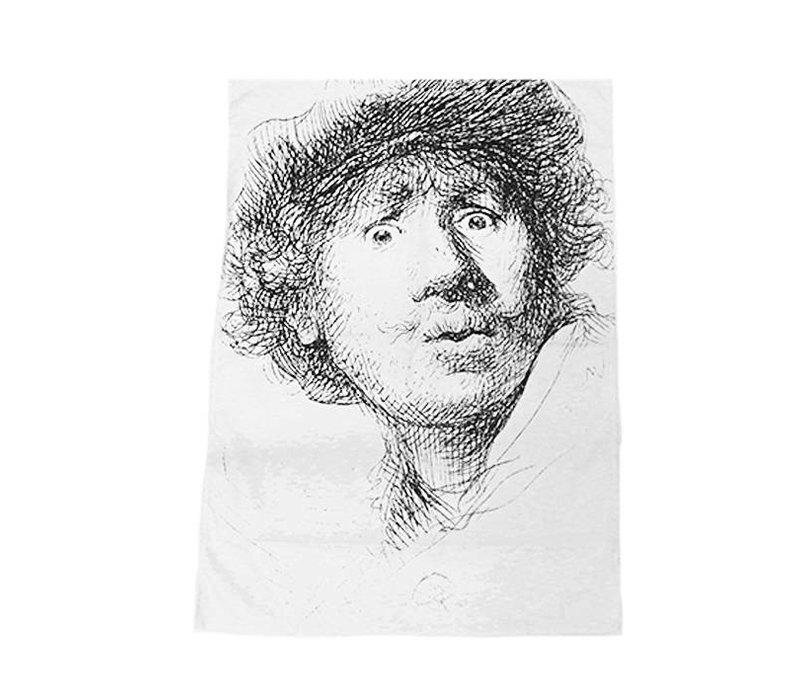 Tea Towel Self-portrait Open-mouthed
