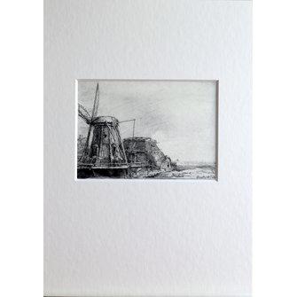 De molen in passepartout