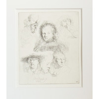 ETCHING Five Studies of the Head of Saskia