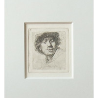 ETCHING Self-portrait Open-mouthed