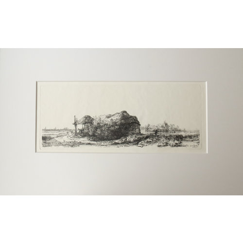 ETCHING Cottage with a Haybarn