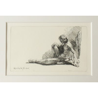 ETCHING Seated Male Nude