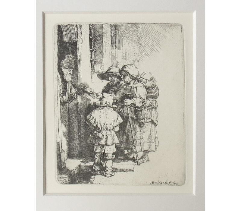 ETCHING Beggars Receiving Alms at the Door