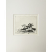 ETCHING Cottage with a White Paling
