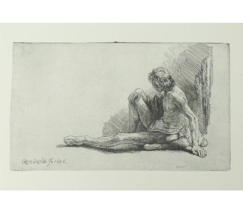 Postcard Seated Male Nude