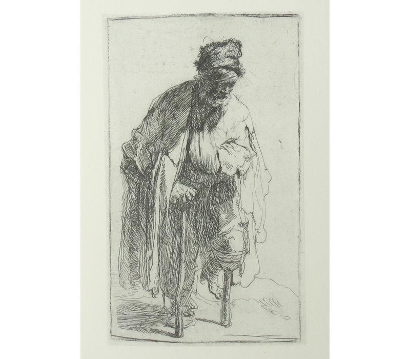 Postcard Beggar with Wooden Leg