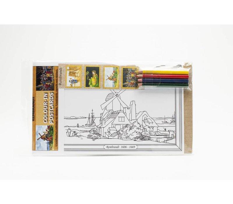 Colour-in postcards Rembrandt
