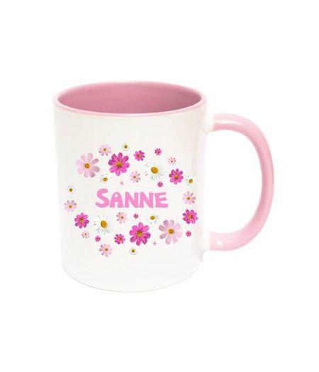 Bloemetjes mok met naam (roze)