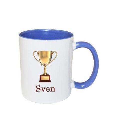Trofee mok met naam (blauw)