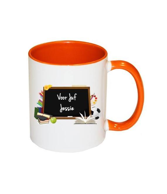 Juf of Meester mok (oranje)