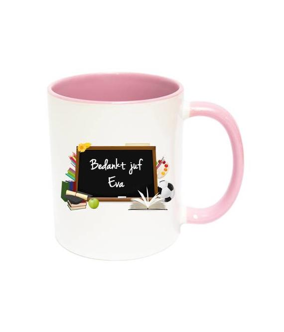 Juf of Meester mok (roze)