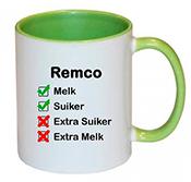 Koffiemok met naam bedrukken (groen)