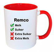 Koffiemok met naam bedrukken (rood)