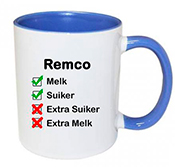 Koffiemok met naam bedrukken (blauw)