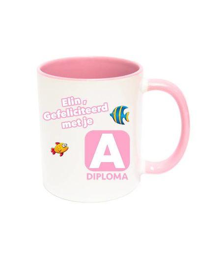 Zwemdiploma A mok met naam (roze)