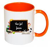 Bedankt juf mok einde schooljaar schoolbord (oranje)