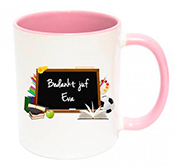 Dag van de leraar cadeautje mok met naam roze