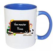 Dag van de leraar cadeautje mok met naam blauw