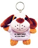 Knuffel sleutelhanger hond met tekst of foto