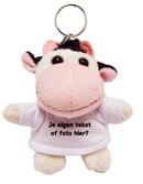 Knuffel sleutelhanger koe met tekst of foto