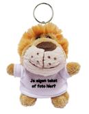 Knuffel sleutelhanger leeuw met tekst of foto