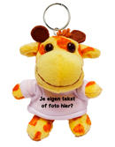 Knuffel sleutelhanger giraffe met tekst of foto