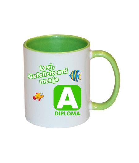 Zwemdiploma A mok met naam (groen)