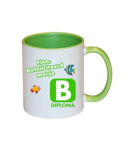 Zwemdiploma B mok met naam (groen)