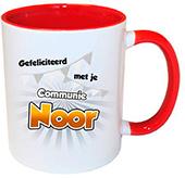 Cadeau voor eerste communie mok rood