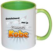 Cadeau voor eerste communie mok groen