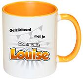 Cadeau voor eerste communie mok geel