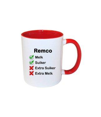 Mok met naam checklist (rood)