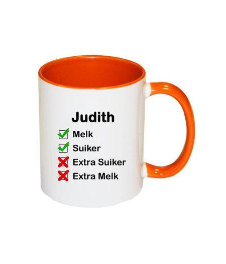 Mok met naam checklist (oranje)