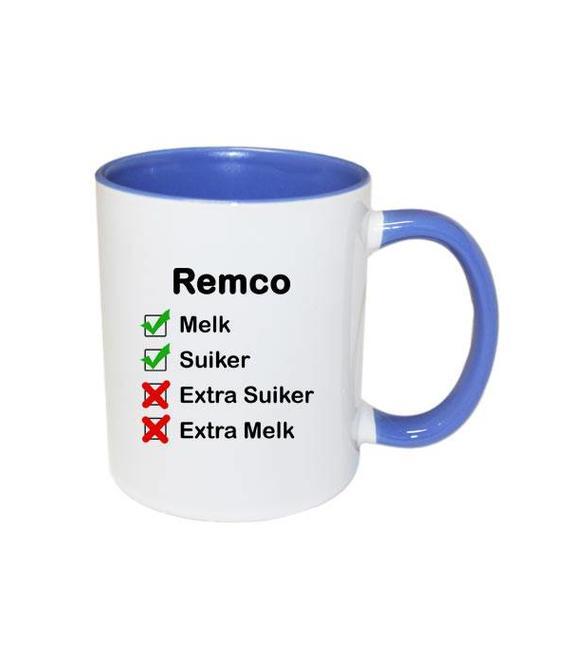 Mok met naam checklist (blauw)