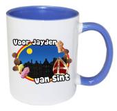 Sinterklaas mok met naam (blauw)