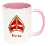 Sinterklaas Mijter mok met naam (roze)