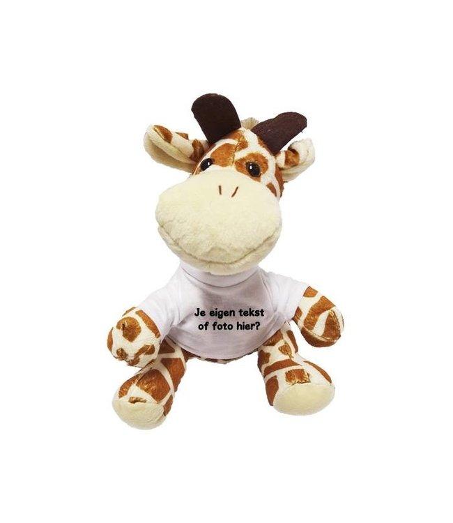 Knuffel Giraffe met naam, tekst of foto