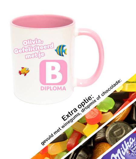Zwemdiploma B mok met naam (roze)