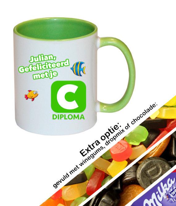 Zwemdiploma C mok met naam (groen)