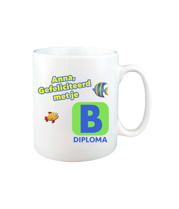 Zwemdiploma B mok met naam (wit)