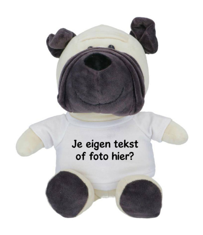 Knuffel Hond met naam, tekst of foto