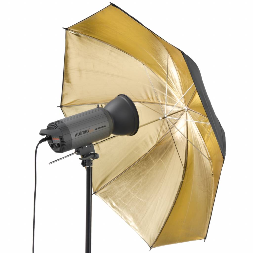 Walimex Reflex 109cm 2 Layer Umbrella Black//Gold
