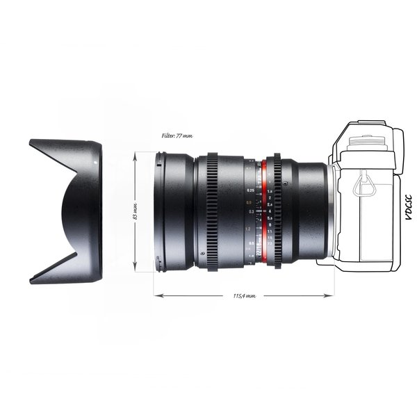 Walimex Pro Objectief 16/2,2 Video APS-C Sony E black