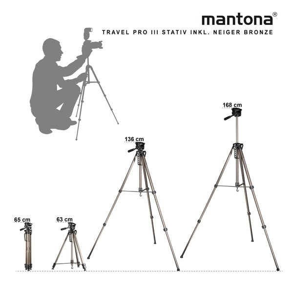 Mantona Basic Travel Pro III bronze Kamerastativ