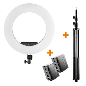 Walimex Pro LED Ringleuchte Medow 960 Pro Set  Lampenstativ und 2 Akkus