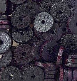 Houten platte schijfjes zwart (15x)