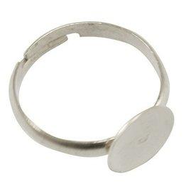 Ring met rond plakplaatje zilver III (3x)