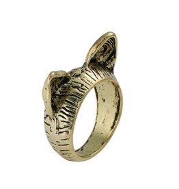 Ring kattenoortjes antiek brons