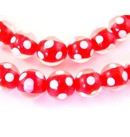 Glaskralen rood met witte stip (10x of streng)