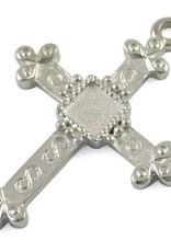 Bedel metalen kruis zilverkleurig (1x)